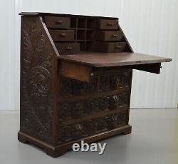 A George III Solid Carved Oak Chest, Green Man Writing Desk Bureau Circa 1880