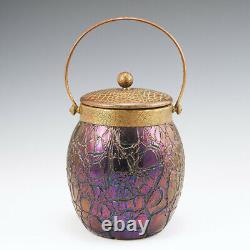 A Kralik Crackle Glass Biscuit Barrel c1930