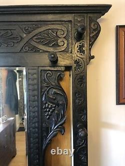 A Solid Oak Green Man Hall Stand Stunning Carving Lionsmask Drawer Handle