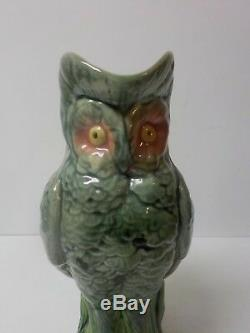 Adorable American Majolica Pottery 9.5 Owl Pitcher, c. 1880-1900