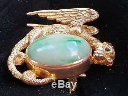 Alling & Co Antique Art Nouveau 14k Gold Griffin Dragon Jade Diamond Brooch 7.6g