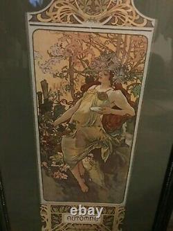 Alphonse Mucha 4 Seasons Autumn Framed Print under Glass Art Nouveau Deco