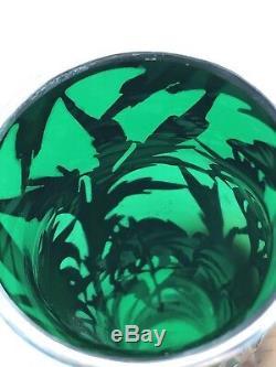 Alvin Emerald Green Glass. 999 Silver Overlay Vase G3378 Antique Art Nouveau