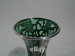 Alvin Vase 32166G Antique Art Nouveau American Green Glass Silver Overlay