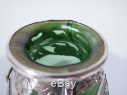 Alvin Vase 3418 Art Nouveau American Iridescent Green Glass Silver Overlay