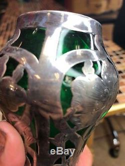 Alvin Vase Antique Art Nouveau American Emerald Green Glass & Silver Overlay