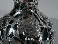 Alvin Vase C3362 Antique Art Nouveau American Green Glass & Silver Overlay