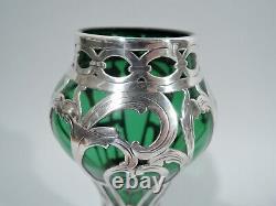 Alvin Vase G321117 Antique Art Nouveau American Green Glass Silver Overlay