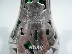 Alvin Vase G3215/3 Antique Art Nouveau American Green Glass Silver Overlay
