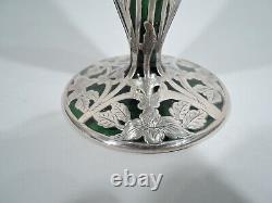 Alvin Vase G3233 Antique Art Nouveau American Green Glass Silver Overlay