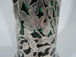 Alvin Vase G3329 Antique Tall American Emerald Green Glass Silver Overlay