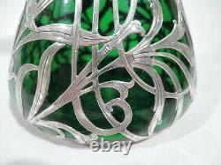 Alvin Vase G3458 Antique Art Nouveau American Green Glass Silver Overlay