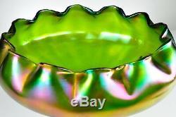 Amazing Antique Art Nouveau Bowl Colourfull with Metal Base Swan Loetz 20th