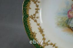 Ambrosius Lamm Dresden Courting Couple Raised Gold & Green Dinner Plate A