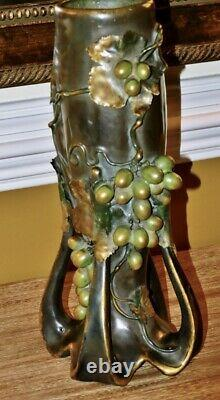 Amphora Art Nouveau Bohemian Pottery Vase with Grapes and leaves c. 1900