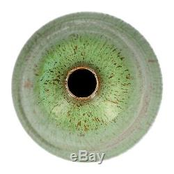 An Art Nouveau pottery lamp base Gourd shape Green glaze Signed