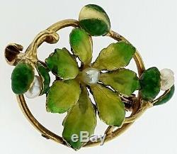 Antique 14k Gold Art Nouveau Green Enamel & Pearl Pansy Floral Flower Brooch Pin