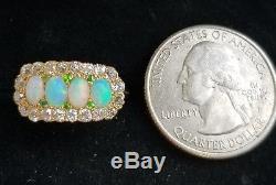 Antique 14k Gold Green Garnet Opal Diamond Halo Ring/14k Gold Opal Diamond Ring