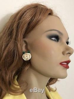 Antique 18k Gold Hand Carved Coral Green Enamel Flower Earrings Superb