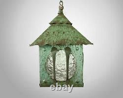 Antique 1920s Arts & Crafts Liberty Style Green Porch Lantern Pendant Lamp