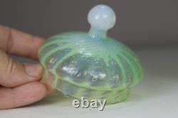 Antique 19th Century Art Nouveau Green Vaseline Uranium Glass Box Powder Bowl