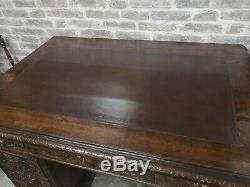Antique 19th Century Victorian Carved Oak Twin Pedestal Green Man Desk
