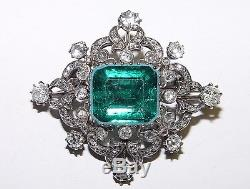 Antique 2.00CT(Est) Old Mine Cut Diamond and Green stone Brooch 38x35MM 18K gold