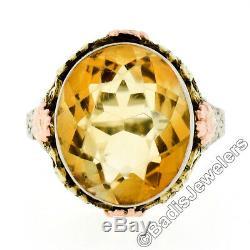 Antique Art Deco 14K White Rose Green Gold Oval Citrine Solitaire Filigree Ring