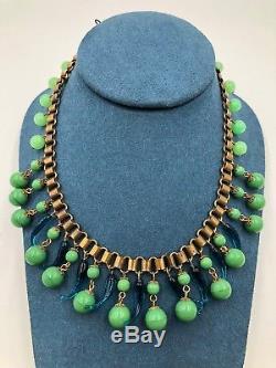 Antique Art Deco Czech Book Chain Necklace Choker Green Jade Peking Art Glass