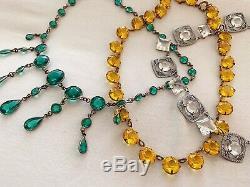 Antique Art Deco Edwardian Emerald Green Pear Glass Paste Riviere Bezel Necklace