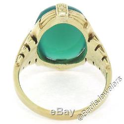 Antique Art Deco Etched RARE 14k Yellow Gold Cabochon Green Chrysoprase Ring Sz6