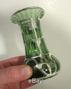 Antique Art Deco Nouveau STERLING SILVER OVERLAY Green Glass RIBBED 4.5 Vase