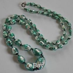 Antique Art Deco Venetian Or Czech Foiled Green Silver Art Glass Beads Necklace