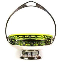 Antique Art Deco WMF Green Glass Lined Silver Plated Bonbon Dish Jugendstil 1900