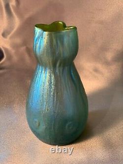 Antique Art Glass Nouveau Iridescent Rusticana Canida Silberiris Loetz Vase