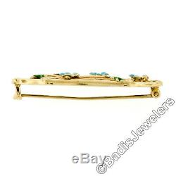 Antique Art Nouveau 10K Gold Green Blue Enamel Flower Leaf Open Work Pin Brooch