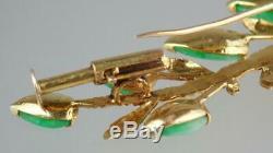 Antique Art Nouveau 14K Gold Apple Green Jade Jadeite Floral Branch Pendant Pin