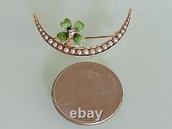 Antique Art Nouveau 14K Gold Pearl Diamond Crescent Moon Clover Brooch H A Kirby