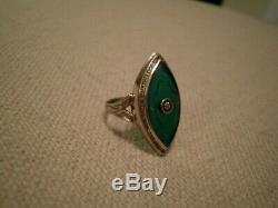 Antique Art Nouveau 14K White Gold Intaglio Green Onyx / Diamond Ring