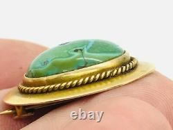 Antique Art Nouveau 14K Yellow Gold Green Matrix Turquoise Brooch Pin