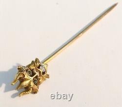 Antique Art Nouveau 14k Devil Head Stick Pin, Diamond, Green Stones