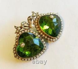 Antique Art Nouveau 14k Double Heart Pin With Green Heart Shaped Stones & Pearls