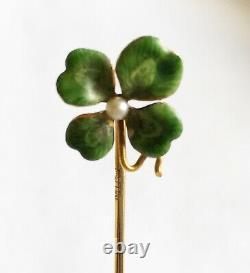 Antique Art Nouveau 14k Green Enamel Four Leaf Clover Stick Pin