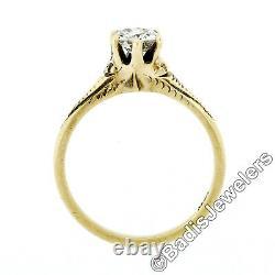 Antique Art Nouveau 14k Green Gold Old European Diamond Engagement Promise Ring