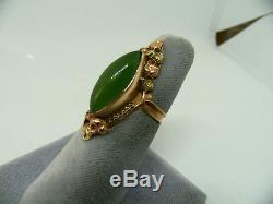 Antique Art Nouveau 14k Rose Green Gold Natural Jade Elongated Arts Crafts Ring