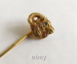 Antique Art Nouveau 14k Stick Pin, Rams Head, Green Eye