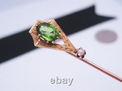 Antique Art Nouveau 18K Gold Green Gemstone Pearl Cravat Tie Scarf Stick Pin