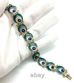 Antique Art Nouveau 800-Grade Silver Blue-Green Enamel Filigree Link Bracelet