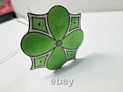 Antique Art Nouveau. 800 silver Green & White Enameled Design Hat Pin #46