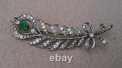 Antique Art Nouveau 900 Silver Diamond Paste Green Garnet Brooch Peacock Feather